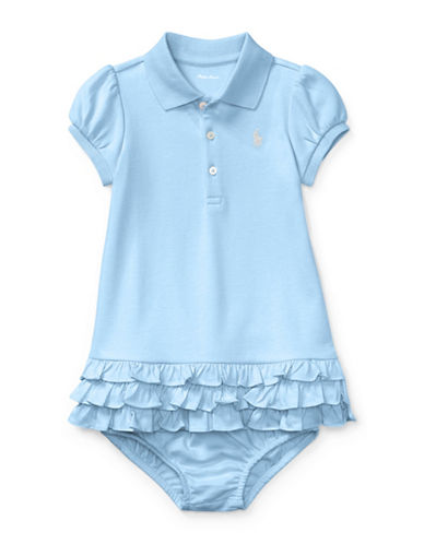 Ralph Lauren Childrenswear Two-Piece Ruffled Cotton Polo Dress and Bloomers Set-BLUE-24 Months