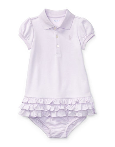Ralph Lauren Childrenswear Two-Piece Ruffled Cotton Polo Dress and Bloomers Set-PURPLE-3 Months