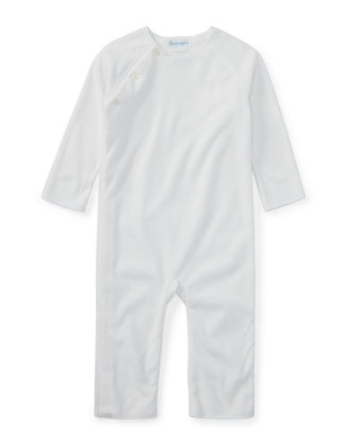 Ralph Lauren Childrenswear Lux Fleece Coverall-WHITE-12 Months