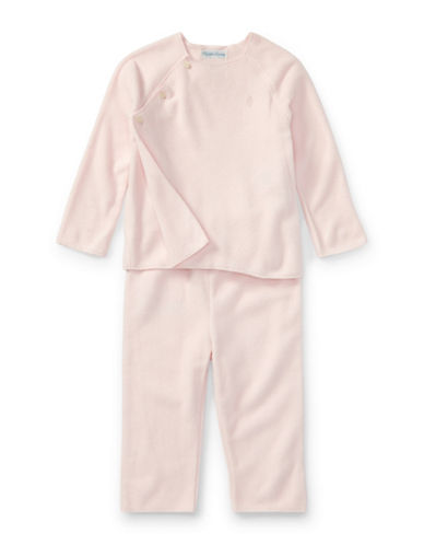 Ralph Lauren Childrenswear Fleece Top and Pants Set-PINK-9 Months