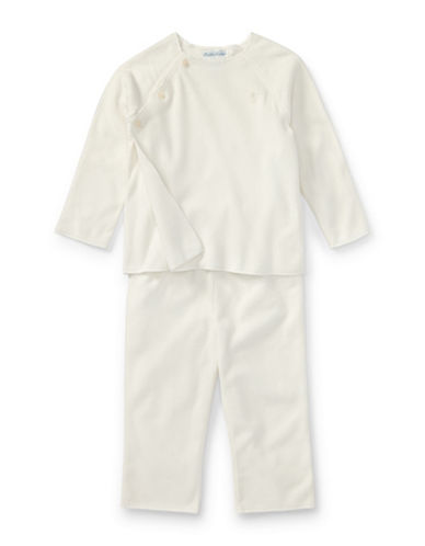 Ralph Lauren Childrenswear Fleece Top and Pants Set-WHITE-12 Months