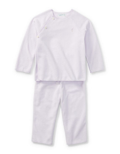 Ralph Lauren Childrenswear Fleece Top and Pants Set-PURPLE-9 Months