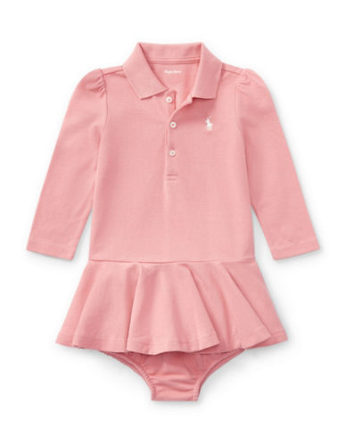Ralph Lauren Childrenswear Babys Cotton Polo Dress & Bloomer Set-PINK-12 Months