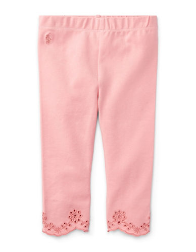 Ralph Lauren Childrenswear Scalloped Cuffs Jersey Leggings-PINK-18 Months
