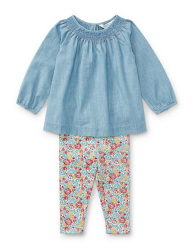 Ralph Lauren Childrenswear Two-Piece Cotton Chambray Top and Floral Leggings Set-BLUE-9 Months