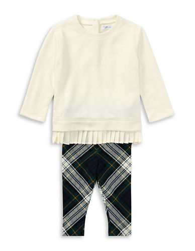 Ralph Lauren Childrenswear Fleece Top and Legging Two-Piece Set-WHITE-9 Months