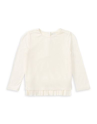 Ralph Lauren Childrenswear Pleated-Hem Jersey Top-WHITE-18 Months