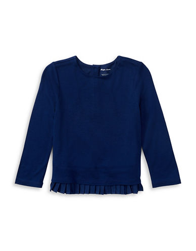 Ralph Lauren Childrenswear Pleated-Hem Jersey Top-BLUE-18 Months