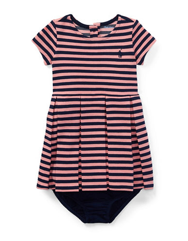 Ralph Lauren Childrenswear Striped Pleated Cotton Dress-PINK-12 Months