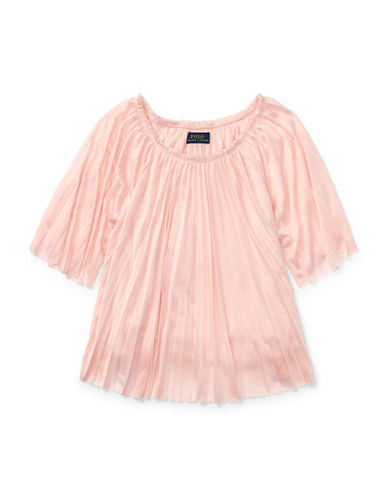 Ralph Lauren Childrenswear Pleated Jersey Top-PINK-4