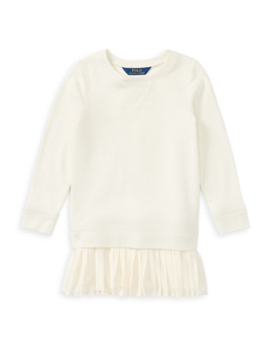 Ralph Lauren Childrenswear Pleated-Hem Sweatshirt Dress-WHITE-3