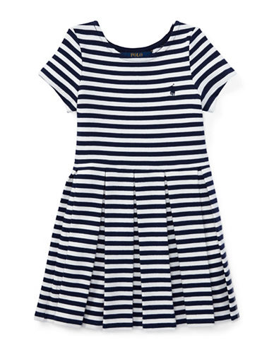Ralph Lauren Childrenswear Striped Pleated Ponte Dress-BLUE-3