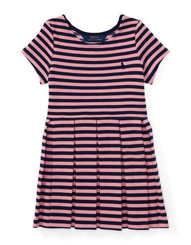 Ralph Lauren Childrenswear Striped Pleated Ponte Dress-PINK-3