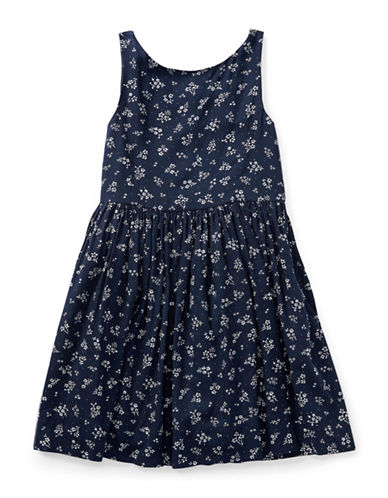 Ralph Lauren Childrenswear Floral Fit-and-Flare Dress-BLUE-2
