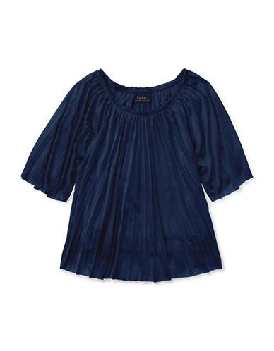 Ralph Lauren Childrenswear Pleated Jersey Top-NAVY-2
