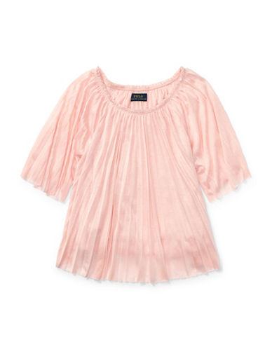 Ralph Lauren Childrenswear Pleated Jersey Top-PINK-6X