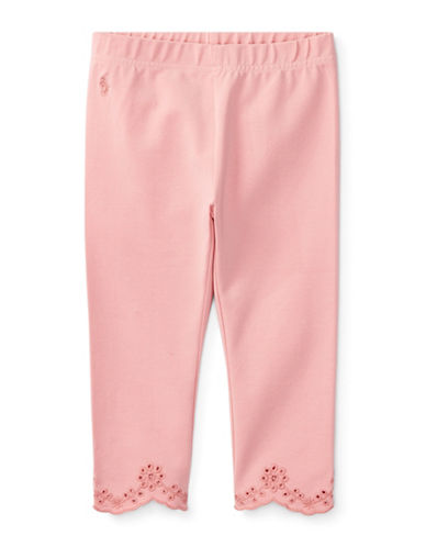 Ralph Lauren Childrenswear Eyelet-Cuff Capri Leggings-PINK-6X