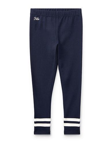 Ralph Lauren Childrenswear Striped-Cuff Jersey Legging-NAVY-6X