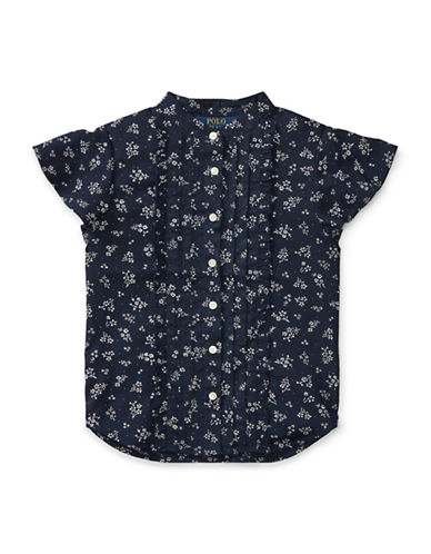 Ralph Lauren Childrenswear Ruffled Floral-Print Top-BLUE-6