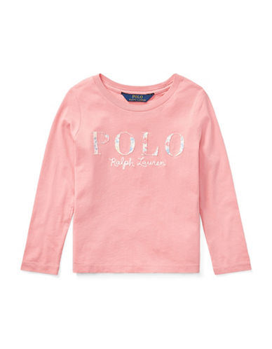 Ralph Lauren Childrenswear Cotton Long-Sleeve Graphic Tee-PINK-6X