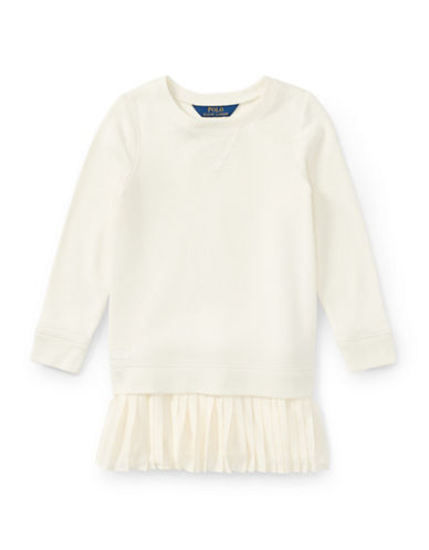 Ralph Lauren Childrenswear Atlantic Fleece Sweatshirt Dress-WHITE-5