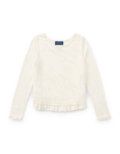 Ralph Lauren Childrenswear Pleated-Hem Jersey Top-WHITE-5