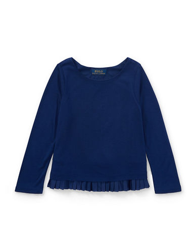 Ralph Lauren Childrenswear Pleated-Hem Jersey Top-BLUE-5