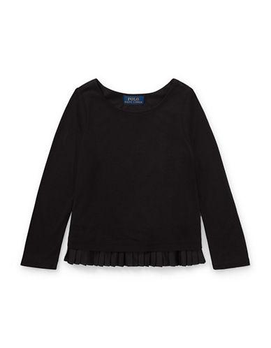 Ralph Lauren Childrenswear Pleated-Hem Jersey Top-BLACK-2