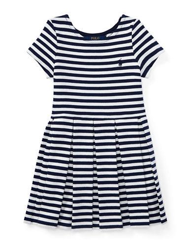 Ralph Lauren Childrenswear Striped Pleated Ponte Dress-NAVY-6X