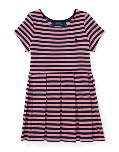 Ralph Lauren Childrenswear Striped Pleated Ponte Dress-PINK-6