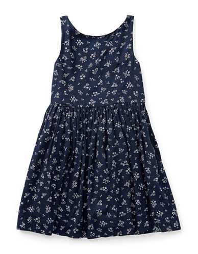Ralph Lauren Childrenswear Floral Fit-and-Flare Dress-BLUE-6X