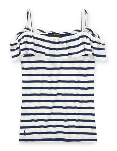 Ralph Lauren Childrenswear Striped Off-the-Shoulder Top-WHITE-Large