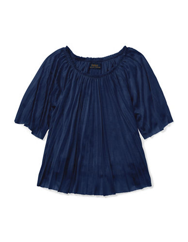 Ralph Lauren Childrenswear Pleated Jersey Top-BLUE-Small