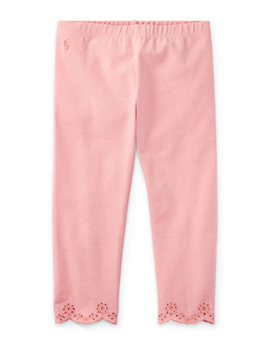 Ralph Lauren Childrenswear Eyelet-Cuff Capri Leggings-PINK-Large