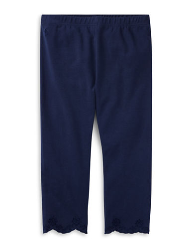Ralph Lauren Childrenswear Eyelet-Cuff Capri Leggings-NAVY-XLarge