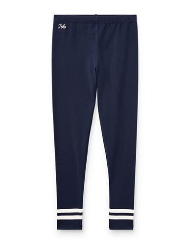 Ralph Lauren Childrenswear Striped Cuff Jersey Legging-BLUE-X-Large