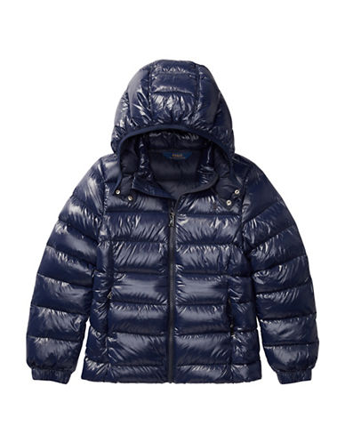 Ralph Lauren Childrenswear Hooded Down Jacket-BLUE-Small