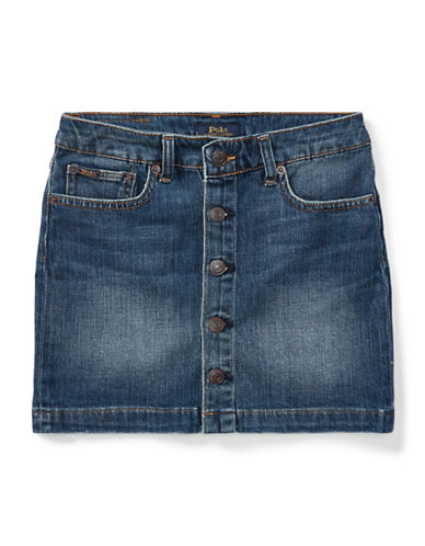 Ralph Lauren Childrenswear Button-Front A-Line Denim Skirt-BLUE-12