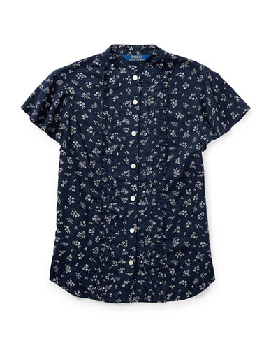 Ralph Lauren Childrenswear Ruffled Floral Print Top-INDIGO-12