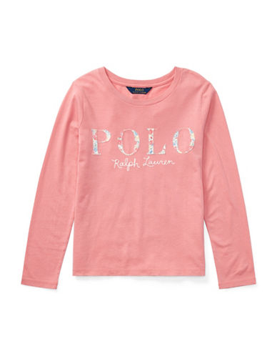 Ralph Lauren Childrenswear Cotton Long-Sleeve Graphic Tee-PINK-Small