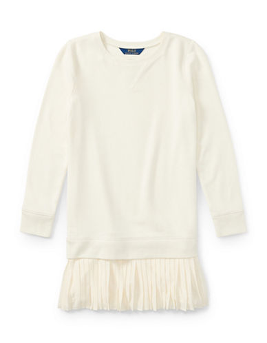 Ralph Lauren Childrenswear Pleated Hem Sweatshirt Dress-WHITE-Medium
