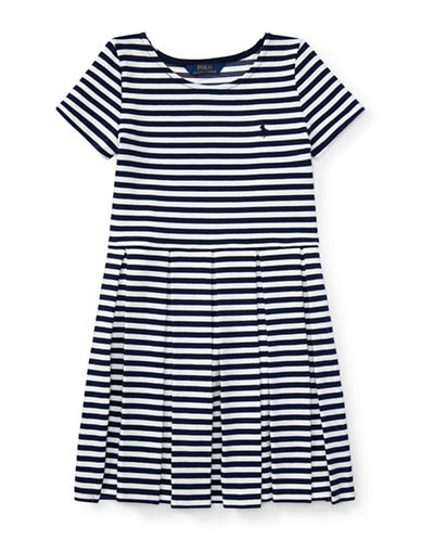 Ralph Lauren Childrenswear Striped Pleated Ponte Dress-BLUE-Medium