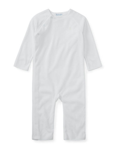 Ralph Lauren Childrenswear Fleece Coverall-WHITE-12 Months