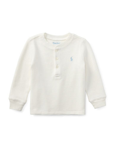 Ralph Lauren Childrenswear Waffle-Knit Cotton Sweater-WHITE-24 Months