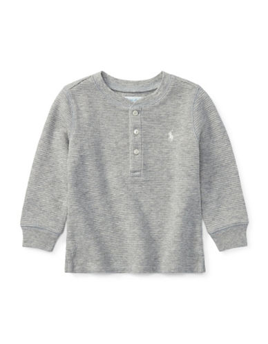 Ralph Lauren Childrenswear Waffle-Knit Cotton Sweater-GREY-12 Months