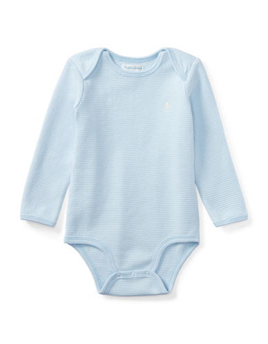 Ralph Lauren Childrenswear Waffle-Knit Cotton Bodysuit-BLUE-9 Months