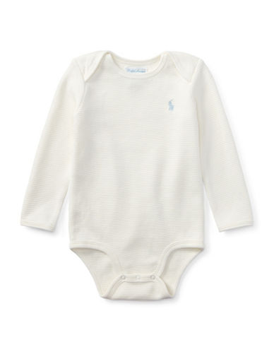 Ralph Lauren Childrenswear Waffle-Knit Cotton Bodysuit-WHITE-12 Months