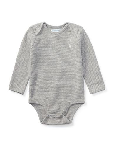 Ralph Lauren Childrenswear Waffle-Knit Cotton Bodysuit-GREY-9 Months