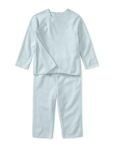 Ralph Lauren Childrenswear Two-Piece Fleece Pullover and Pants Set-BLUE-12 Months