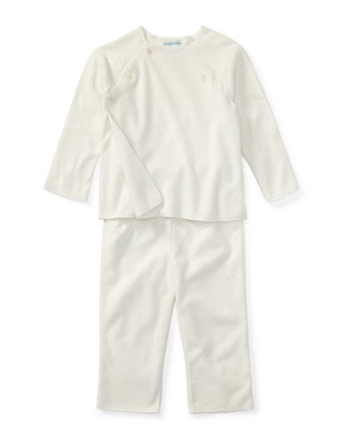 Ralph Lauren Childrenswear Two-Piece Fleece Pullover and Pants Set-WHITE-6 Months